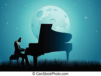 The Pianist During Full Moon - Graphic illustration of a...