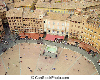 The Piazza del Campo located in Siena, Italy in the heart of Tuscany.