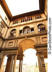 The Piazzale degli Uffizi in Florence, Italy, Europe.