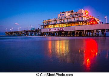 The pier at night in Daytona Beach, Florida