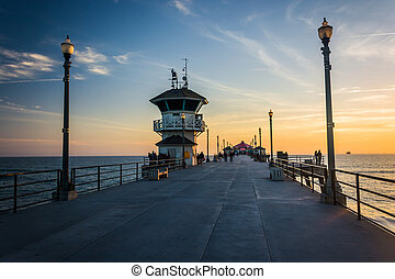 The pier at sunset, in Huntington Beach, California.