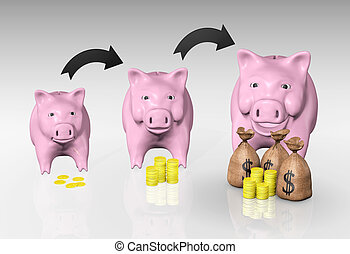the picture is showing, with two curved arrows above, the grow up of a small piggy from the left with little money to a big one on the right that is smiling with a lot of money