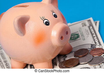 piggy bank with american currency