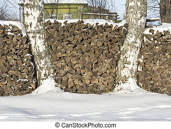 The pile of firewood.