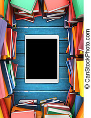 The piles of books in the form of a frame around the tablet