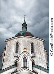 The pilgrimage church Green Hill before big storm - Monument UNESCO