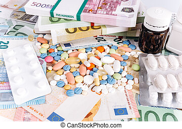 The pills are on European money. Pills and Euro money. Euro notes and pills.