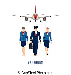 The pilot and a flight attendant on the plane background