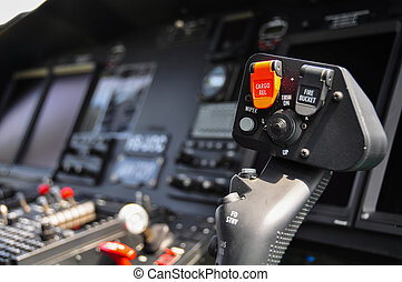 The pilots control panel inside a passenger airplane,...
