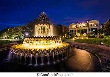 The Pineapple Fountain at night, at the Waterfront Park in Charleston, South Carolina.