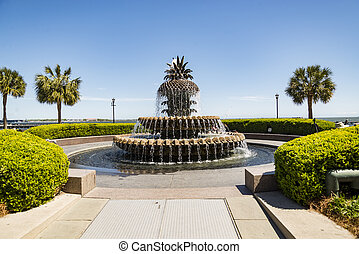 The pineapple water Fountain Charleston South Carolina, USA
