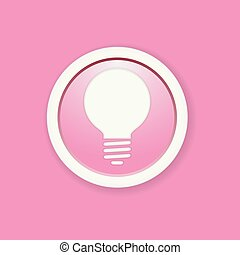 the pink glossy circle button with bulb pictogram