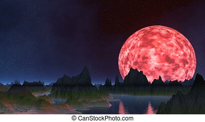 The pink moon is reflected in water