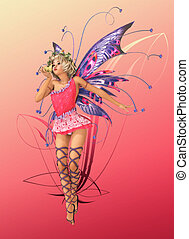 The Pink Pixie - A charming fairy with wings, wreath and a...