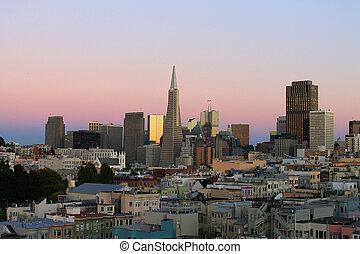 The pink San Francisco sunset