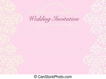 Wedding invitation background 1 the design of light pink vector the pink wedding invitation card background template with pattern ornament stopboris Images