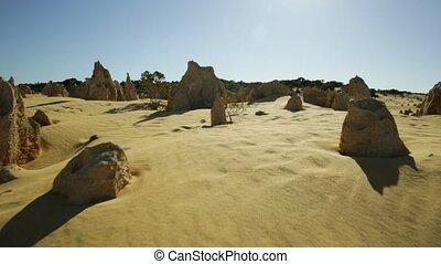The Pinnacles desert - Ground view POV walking in hot sun...