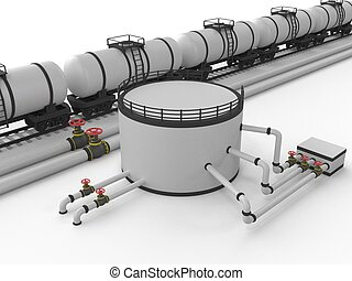 The pipeline and storage facility on a white background.