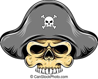 The illustration of the pirates skull head with the pirates hat for the big ship logo inspiration