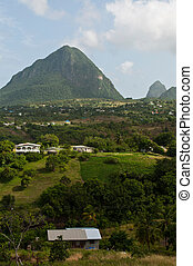 The Pitons in Saint Lucia - view of the famous Pitons in...