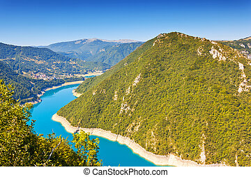 The Piva river in Montenegro - The famous Piva Canyon with...