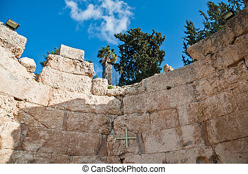 The place where Christ broke bread with his disciples , located in Emmaus-Nicopolis ,  Israel .
