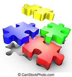 The placement of colored pieces of puzzle