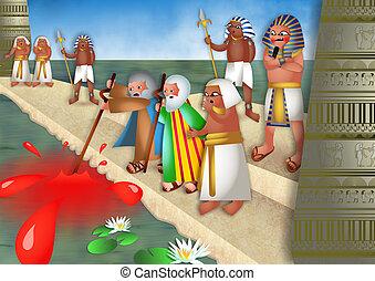 The Plague of Blood - A cartoon biblical illustration...