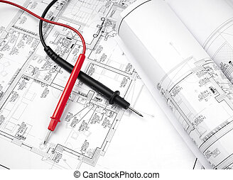 The plan of electrical installation with multimeter