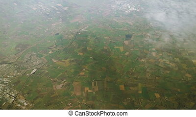 The plane flies over Germany. Top view