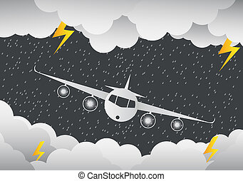 The plane flies through clouds. rainy Day and lightning in clouds, vector illustration. on abstract background.paper art.vector illustration