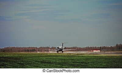 the plane is maneuvering on the ground - the plane rolls...