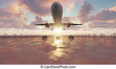 The plane takes off at sunrise accompanied by business cars. 3D Rendering