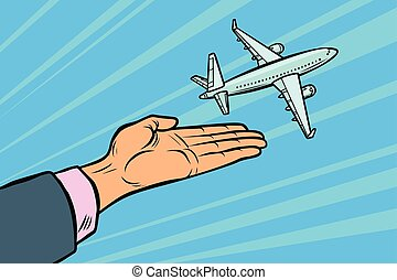 the plane takes off from his hands. flight travel tourism