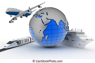 International transport concept - The plane, the train, the...