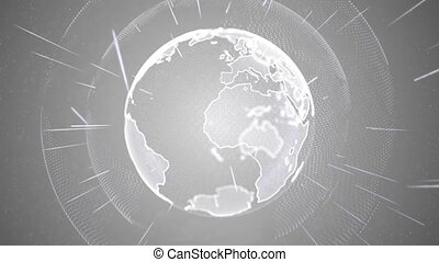 The planet Earth Hologram Rotating Node Connection 4k Loop ...