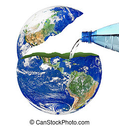 planet Earth with a water bottle on white background
