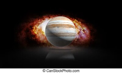The planet Jupiter in the solar system on the background of the Galaxy 129.