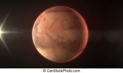 The planet Mars - Rotates round its pivot-center .High...