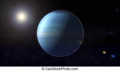 The planet nepturus rotates in space