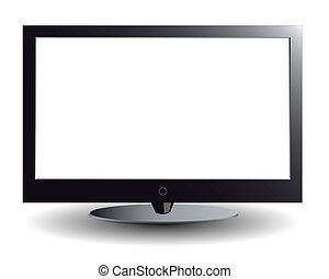 The plasma TV with the white screen on a white background