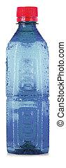 Plastic blue bottle isolated on white background