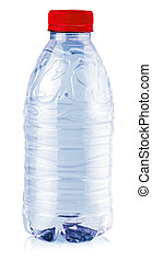 Plastic blue bottle isolated on white background. Selective focus