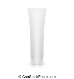 The plastic tube on glossy surface. - The plastic tube on a...