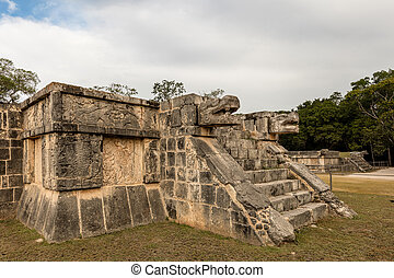 The Platform of Eagles and Jaguars in the Great Plaza at...
