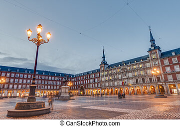 The Plaza Mayor square in Madrid, Spain.