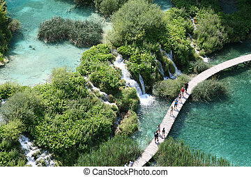 The Plitvice Lakes in the Plitvice Lakes municipality, in the mountainous region of Lika.