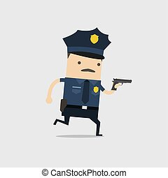 The police ran with a gun in his hand. Funny cop cartoon character.
