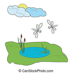 The pond with the dragonflies