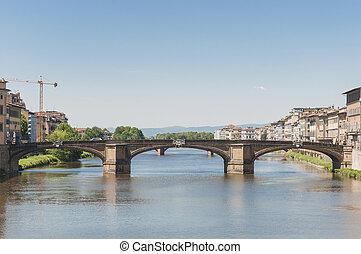The Ponte alla Carraia bridge in Florence, Italy.
